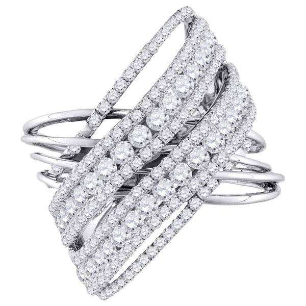 10kt White Gold Womens Round Diamond Crossover Open Strand Cocktail Ring 2-1/2 Cttw