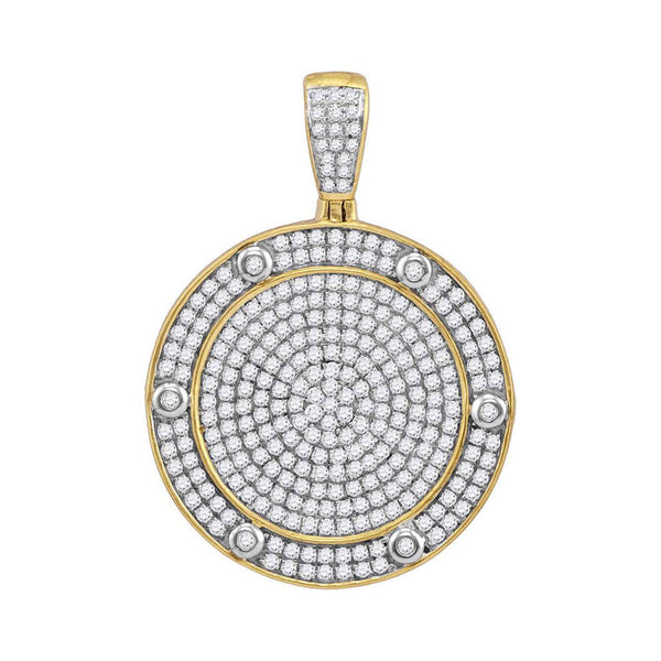 10kt Yellow Gold Mens Round Diamond Circle Medallion Charm Pendant 1-1/2 Cttw