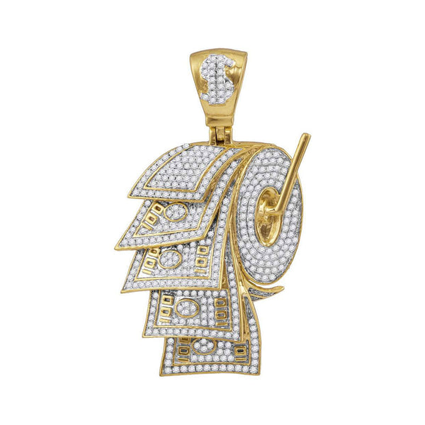 10kt Yellow Gold Mens Round Diamond Dollar Bill Toilet Paper Roll Charm Pendant 2-7/8 Cttw