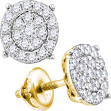 14kt White Gold Womens Round Diamond Cluster Earrings 1-1/2 Cttw