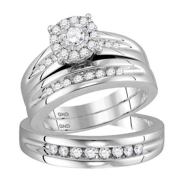 10kt White Gold His & Hers  Diamond Solitaire Matching Bridal Wedding Ring Band Set 5/8 Cttw