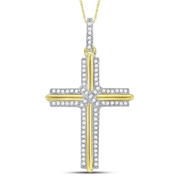 10kt Yellow Gold Mens Round Diamond Cross Charm Pendant 1/5 Cttw
