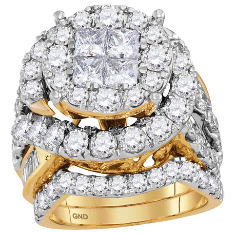 14kt Yellow Gold Womens Princess Diamond Bridal Wedding Engagement Ring Band Set 5-5/8 Cttw