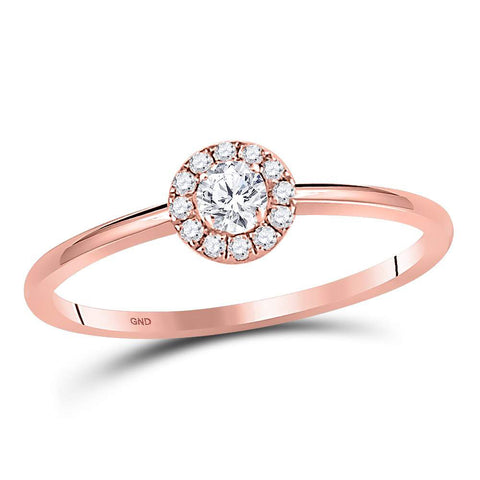 10kt Rose Gold Womens Round Diamond Solitaire Promise Bridal Ring 1/5 Cttw