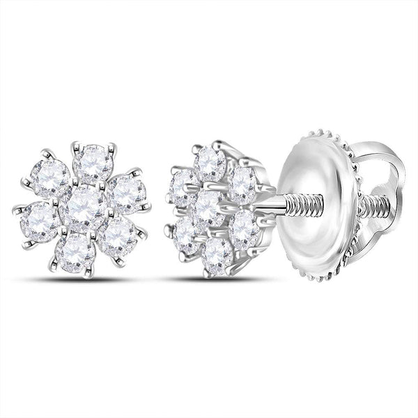 10kt White Gold Womens Round Diamond Flower Cluster Burst Earrings 1/8 Cttw