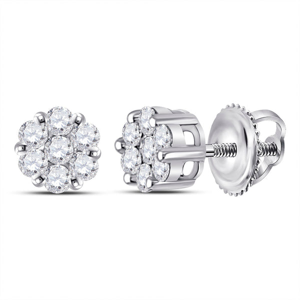 14kt White Gold Womens Round Diamond Flower Cluster Earrings 1/4 Cttw