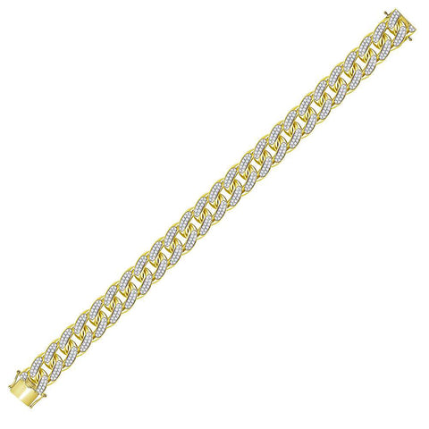 10kt Yellow Gold Mens Round Diamond Cuban Link Bracelet 7.00 Cttw