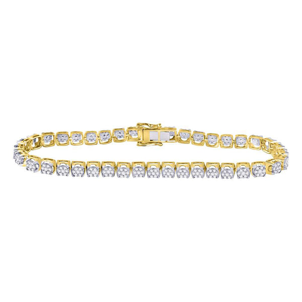 10kt Yellow Gold Mens Round Diamond Cluster Fashion Bracelet 3.00 Cttw