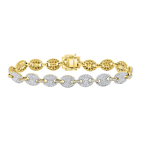 10kt Yellow Gold Mens Round Diamond Gucci Link Fashion Bracelet 5-5/8 Cttw