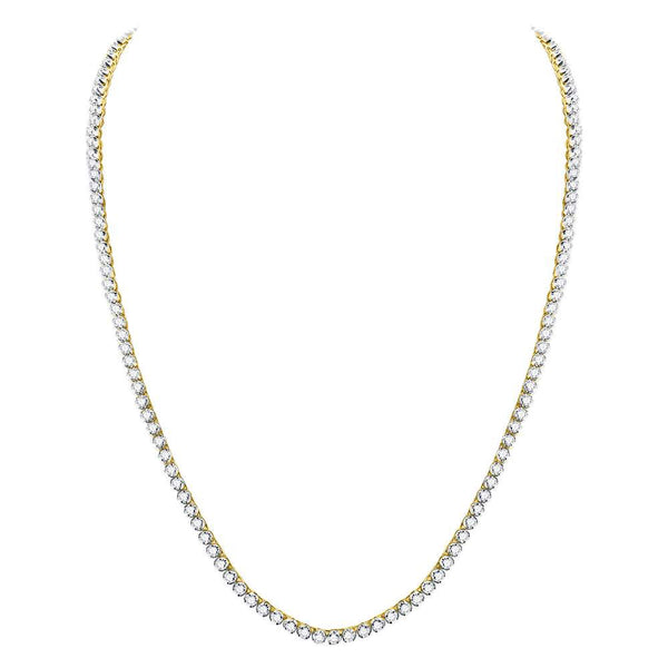 "10kt Yellow Gold Mens Round Diamond 24"" Studded Link Chain Necklace 15.00 Cttw"