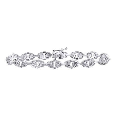 10kt White Gold Mens Round Diamond Link Fashion Bracelet 1.00 Cttw