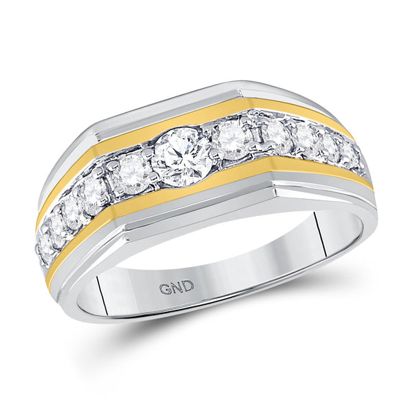 10kt Two-tone Gold Mens Round Diamond Flat Band Ring 1.00 Cttw