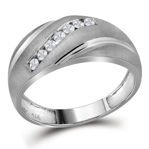 10kt White Gold Mens Round Diamond Band Ring 1/4 Cttw