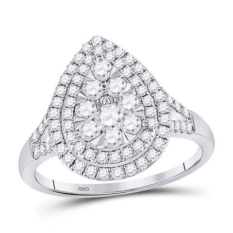 14kt White Gold Womens Round Diamond Fashion Pear Cluster Ring 1.00 Cttw