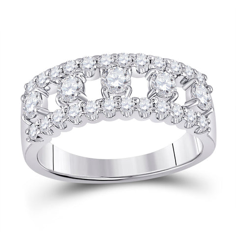 14kt White Gold Womens Round Diamond Right Hand Three-Row Band Ring 1.00 Cttw