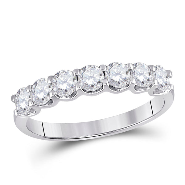 14kt White Gold Womens Round Diamond Classic Anniversary Band Ring 1.00 Cttw