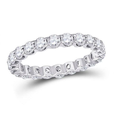 14kt White Gold Womens Round Diamond Timeless Eternity Ring 2.00 Cttw
