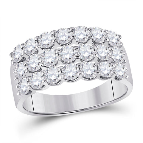 14kt White Gold Womens Round Diamond Anniversary Band Ring 2.00 Cttw