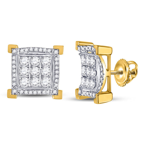 14kt Yellow Gold Mens Round Diamond Squared Cluster Earrings 1.00 Cttw