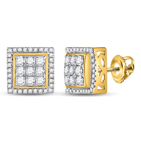 10kt Yellow Gold Mens Round Diamond Square Cluster Earrings 3/4 Cttw