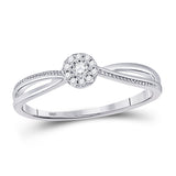 10kt White Gold Womens Round Diamond Solitaire Promise Bridal Ring 1/10 Cttw