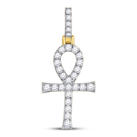 10kt Yellow Gold Mens Round Diamond Ankh Cross Charm Pendant 1/2 Cttw