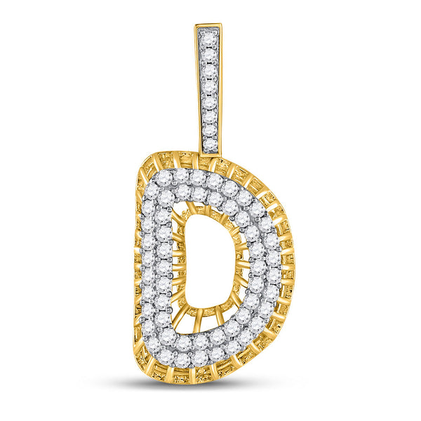 "10kt Yellow Gold Mens Round Diamond ""D"" Charm Pendant 1.00 Cttw"