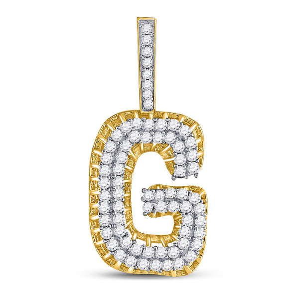 "10kt Yellow Gold Mens Round Diamond ""G"" Charm Pendant 1-3/8 Cttw"
