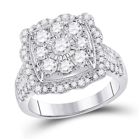 14kt White Gold Womens Round Diamond Square Flower Cluster Ring 2.00 Cttw