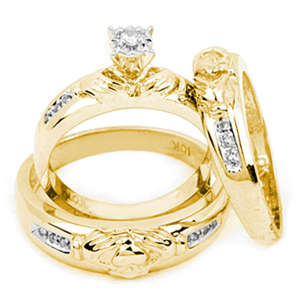 10k Yellow Gold Diamond Matching Claddagh Mens Womens His & Hers Trio Wedding Ring Set 1/8 Cttw