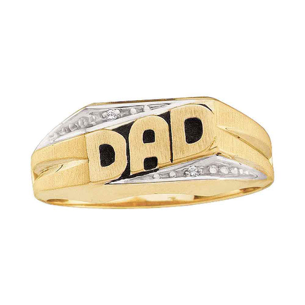 14kt Yellow Gold Mens Round Diamond Dad Father Ring .01 Cttw