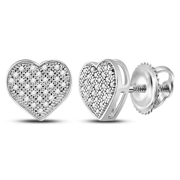 10kt White Gold Womens Round Diamond Heart Cluster Screwback Earrings 1/6 Cttw