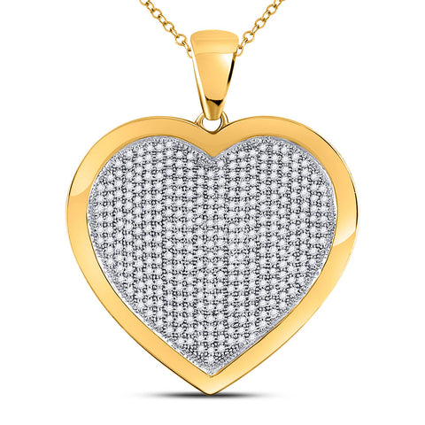 10kt Yellow Gold Womens Round Diamond Heart Pendant 1.00 Cttw