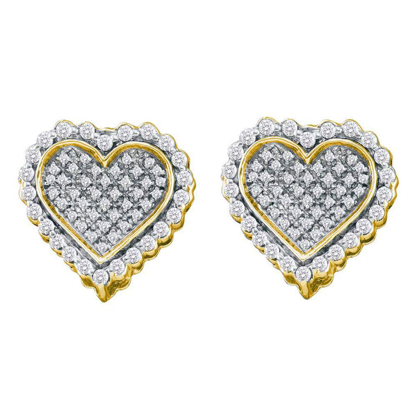 10kt Yellow Gold Womens Round Diamond Heart Earrings 1/2 Cttw