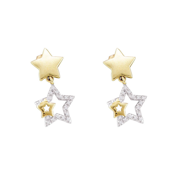 10kt Yellow Gold Womens Round Diamond Star Dangle Earrings 1/10 Cttw