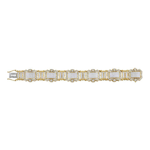 10kt Yellow Gold Mens Round Diamond Big Look Fashion Bracelet 3-1/5 Cttw