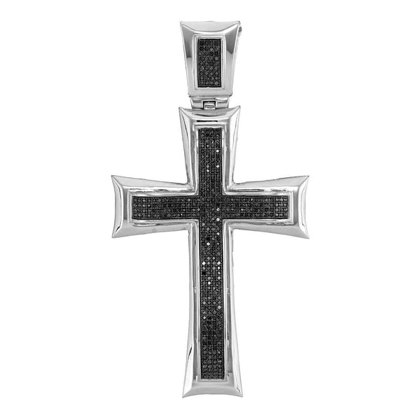 10kt White Gold Mens Round Black Color Enhanced Diamond Cross Charm Pendant 1.00 Cttw