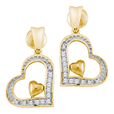 10k Yellow Gold Round Diamond Heart Dangle Screwback Stud Earrings 1/10 Cttw