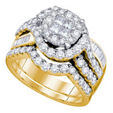 14kt Yellow Gold Womens Princess Round Diamond Bridal Wedding Engagement Ring Band Set 1-3/4 Cttw