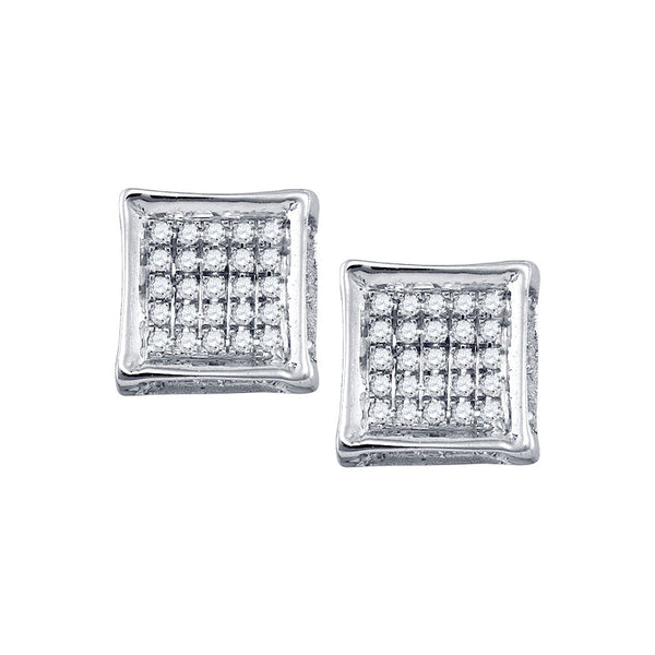 10kt White Gold Mens Round Diamond Square Cluster Stud Earrings 1/8 Cttw