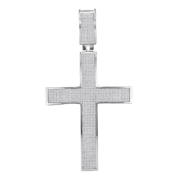 10kt White Gold Mens Round Diamond Roman Cross Charm Pendant 1-7/8 Cttw