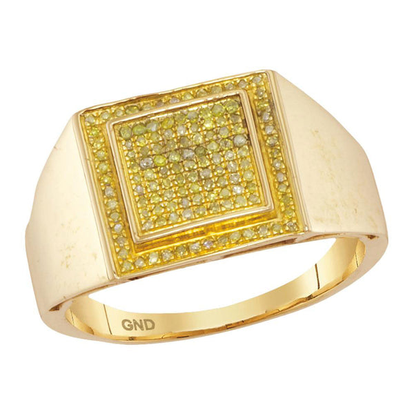 10kt Yellow Gold Mens Round Yellow Color Enhanced Diamond Square Cluster Ring 1/4 Cttw