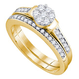 10kt Yellow Gold Womens Diamond Cluster Bridal Wedding Engagement Ring Band Set 1/2 Cttw