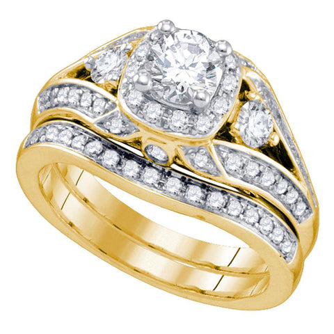 14kt Yellow Gold Womens Round Diamond Bridal Wedding Engagement Ring Band Set 1-1/2 Cttw