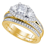 14kt Yellow Gold Womens Princess Diamond Bridal Wedding Engagement Ring Set 1-3/4 Cttw
