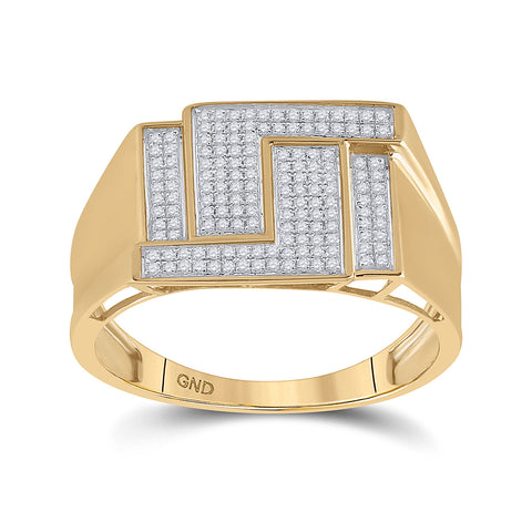 10kt Yellow Gold Mens Round Diamond Geometric Cluster Ring 1/4 Cttw