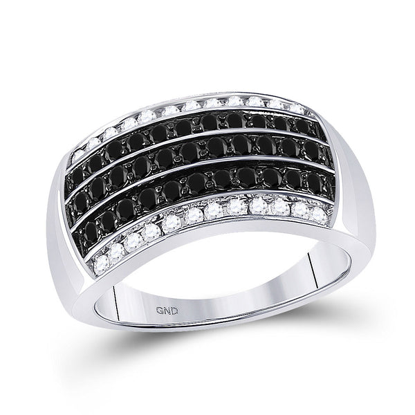 10kt White Gold Mens Round Black Color Enhanced Diamond Band Ring 1.00 Cttw