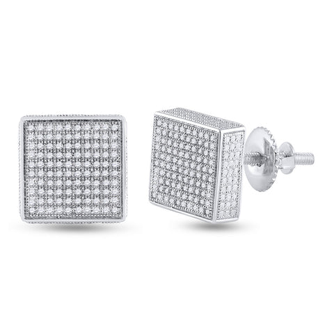 Sterling Silver Mens Round Diamond 3D Square Earrings 1/2 Cttw