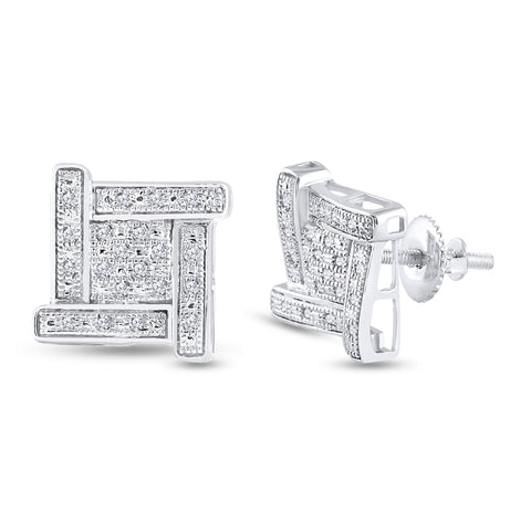 Sterling Silver Mens Round Diamond Square Earrings 1/8 Cttw