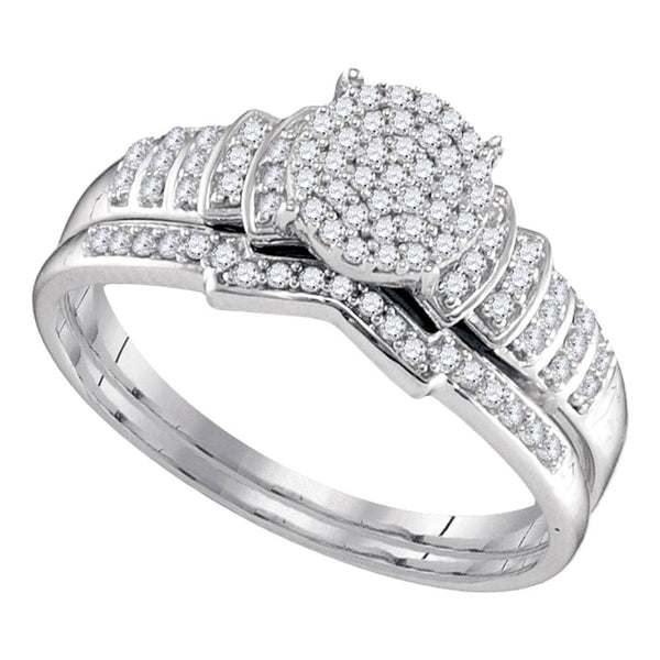 Sterling Silver Womens Round Diamond Cluster Bridal Wedding Engagement Ring Band Set 1/4 Cttw